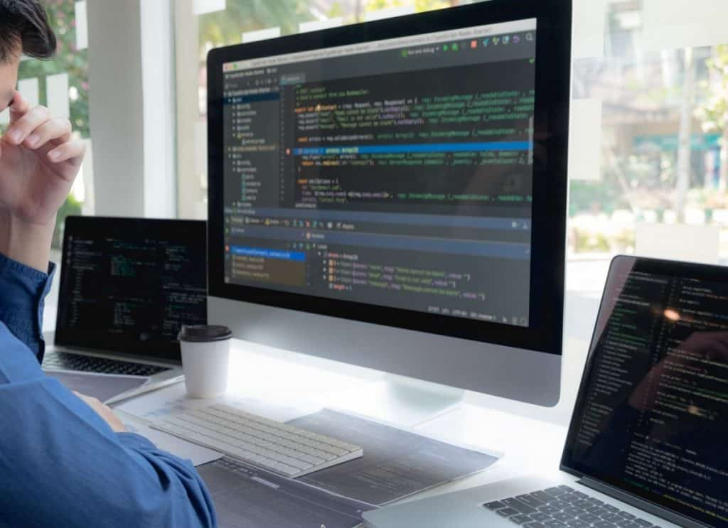 Programmers work on the development of coding and coding technology
